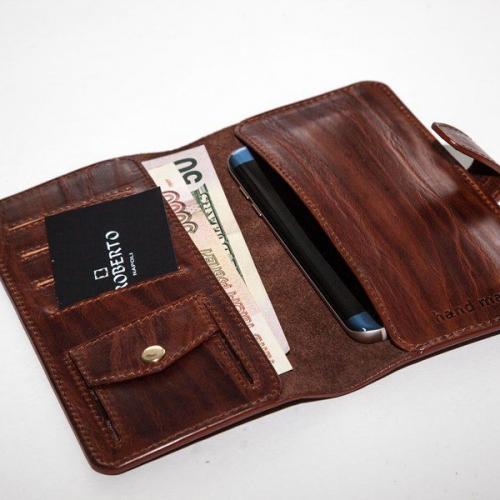 Мужской кошелек A.Roberto Napoli Exclusive Bark Brown Wallet