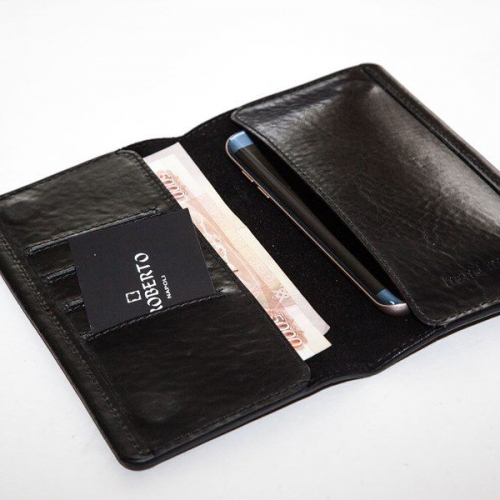 Мужской кошелек A.Roberto Napoli Exclusive Black Cut Magnet Wallet