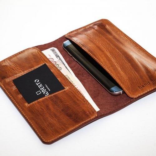 Мужской кошелек A.Roberto Napoli Exclusive Brown Bark Magnet Wallet