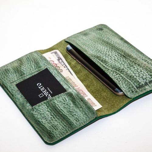Мужской кошелек A.Roberto Napoli Exclusive Green Magnet Wallet